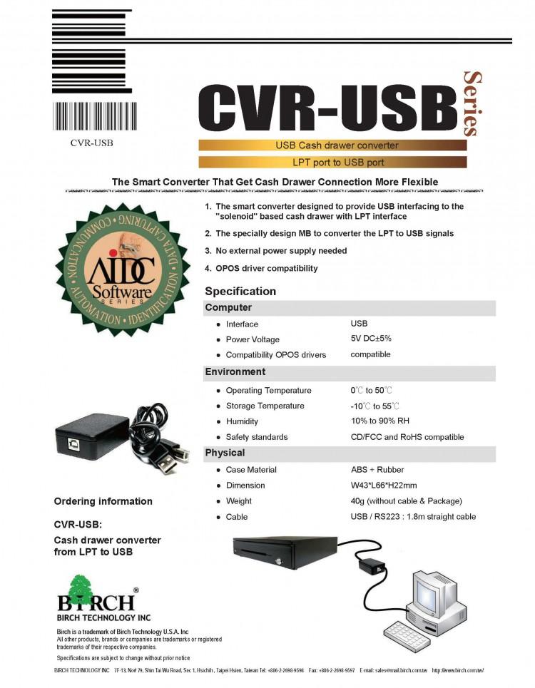 Cash Drawer signal converter- CVR-USB-Birch POS and barcode